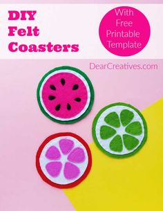 DIY Coasters- Make these easy felt coasters. Colorful, pretty felt coasters you can make for spring and summer. Felt Coasters, Fabric Coasters, Diy Coasters, Easy Felt Crafts, Felt Diy, Fun Crafts, Paper Crafts, Craft Projects For Adults, Crafts For Teens
