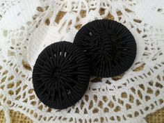 2 Large Antique French Black #buttons . Silk Buttons. High Fashion Design.  Made…