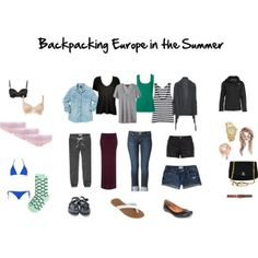 My final packing list-- for now. I think making a Polyvore set really helps you when you're trying to pack light so you can make sure everything matches everything. Backpacking Europe summer