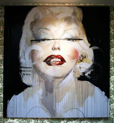 """Charlie Isoe. """"Marilyn and Andy Sucked My Cock and I Cum in Their Faces"""". Oil, acrylic, spraypaint, semen, red wine on canvas. 2009."""