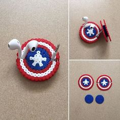 Captain America shield earbud holder perler beads by ikasuyanto - Visit to grab an amazing super hero shirt now on sale! Perler Bead Templates, Diy Perler Beads, Perler Bead Art, Hama Beads Design, Hama Beads Patterns, Beading Patterns, Art Perle, Pixel Beads, Fusion Beads