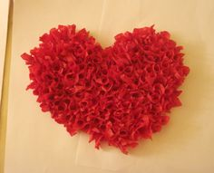 Tissue paper valentines.  This method is also great for book page projects and would make great wreaths.