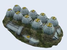 Missile Silo. The link doesn't work right now but it looks like an upside down egg box with some additions, so inspiration.