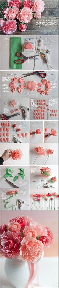 Wonderful DIY Peonies from cupcake wrappers | WonderfulDIY.com