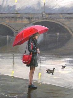 PETE RUMNEY FINE ART MODERN ACRYLIC OIL ORIGINAL PAINTING RED UMBRELLA GIRL NEW in Art, Artists (Self-Representing), Paintings | eBay