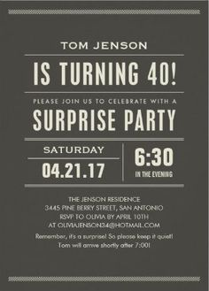 40th Birthday Party Invitations For Men