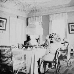 Emperor Nicholas II, and two of his daughters having tea with Grand Duchess Elizabeth Feodorovna at the Martha and Mary Convent in Moscow