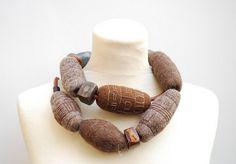 Shetland wool, merino wool, handmade clay beads, leather  by Lee Schein