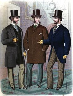 (1870 - 1890)  Full Line of Men's Late Victorian Style Clothing.  Everything a gentleman needs, from head to toe.  Hats, coats, shirts, shoes, ties, trousers and beautiful vests.  Period correct for theatrical and living history use.