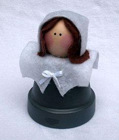 Pilgrim Girl, Holiday, Thanksgiving, Clay Pots, Terra Cotta Pots, Pot People, Garden Art, DIY