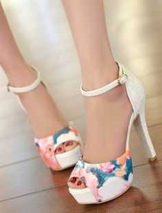 Floral High Heel Sandals With Ankle Strap