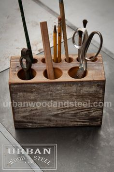 Barn Beam Desk Organizer by urbanwoodandsteel on Etsy