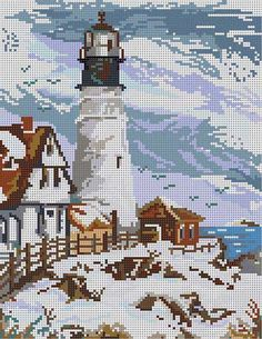 The Meredith Collection! Cross Stitch Sea, Cross Stitch House, Cross Stitch Needles, Beaded Cross Stitch, Cross Stitch Charts, Cross Stitch Patterns, Crewel Embroidery, Cross Stitch Embroidery, Cross Stitch Landscape
