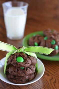 Chocolate Mint M&M Cookies by http://mybakingheart.com