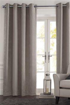 Dove Soft Velour Eyelet Curtains
