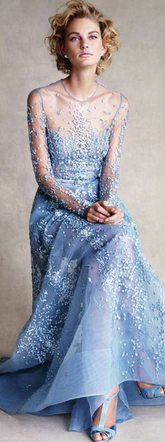 Elie Saab Haute Couture sky blue beaded gown dress