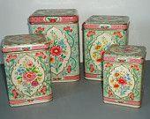 Floral Kitchen Canister Set - Holland Floral Canisters - Vintage Kitchen Canister Set
