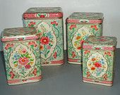 Kitchen Canister Set Holland Floral Canisters Vintage Kitchen