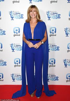 House of Ollichon loves.Kate Garraway, commands attention in plunging blue jumpsuit with dramatic cape at Global's Make Some Noise Night in London. Kate Galloway, Blue Jumpsuits, Tv Presenters, Female Stars, Celebs, Celebrities, Trendy Outfits, Style Icons, Looks Great