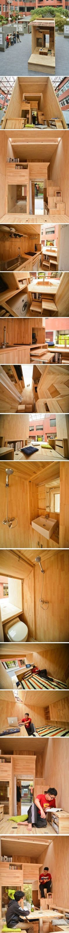 Tiny House - student architect in China constructs his own 75 ft² wooden house complete with kitchen, bathroom, laundry room, and even a patio. Tiny House Cabin, Tiny House Living, Small Living, Mini Loft, Kitchen Shower, Micro House, Compact Living, Compact House, Architecture Student