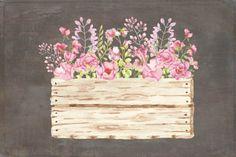 Watercolor clip art: flower arrangements in wooden crate II By Lolly's Lane Shoppe