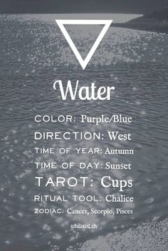 The water element correspondences in magic, spells and witchcraft.