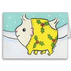 Fluffy White Guinea-pig in a Christmas Snow suit Greeting Card http://www.zazzle.com/fluffy_white_guinea_pig_in_a_christmas_snow_suit_card-137980432845646757?rf=238205274887202706