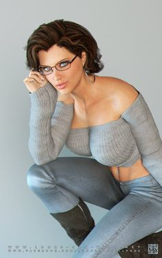 Brunette in grey top and jeans. Don´t look at boobs just see the light blue eyes hidden behind glasses.