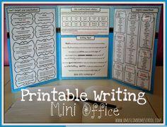 a muslim homeschool: Writing mini-office Writing Lessons, Writing Tips, Writing Offices, Writing Folders, Homeschooling, Homeschool Curriculum, Mini Office, Teaching Aids, Creative Writing