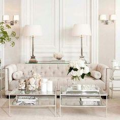 Glamourous ivory white blush pink living room
