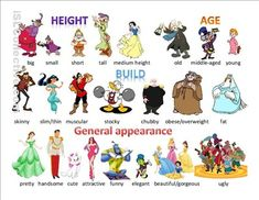Physical description pictionary using Disney characters. Contains vocabulary related to height, build, age and general appearance! You can find the second one. Common Adjectives, Good Adjectives, English Adjectives, English Idioms, English Lessons, Learn English, English Grammar, Interesting Adjectives, English Pronouns