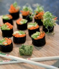 Sushi Ingredients: 4 to 6 sheets of dried nori seaweed (un-toasted) 1/2 to 1 cup julienned cucumber slivers 1/2 to 1 cup julienned carrots slivers 1/2 to 3/4 cup thin-slices avocado 2 to 3 cups sprouts (alfalfa, broccoli, clover, etc.) Soy sauce, sushi vinegar or miso to taste (or any vegan dressing) 1 cup of water