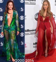 JLo red carpet dresses Grammy green Versace red Donna Karan Billboard