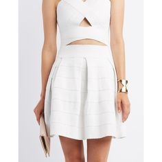 Charlotte Russe Pleated Bandage Skater Skirt ($25) ❤ liked on Polyvore featuring skirts, white, white bandage skirt, flare skirt, skater skirt, white skater skirt and circle skirt