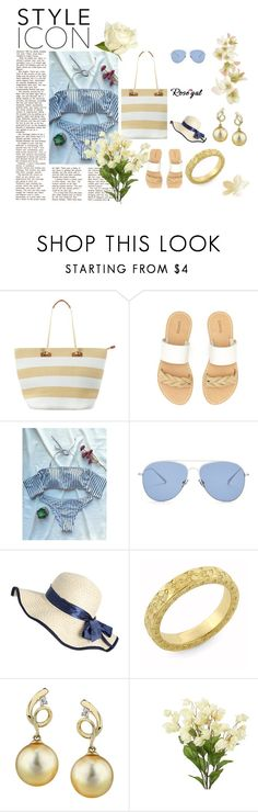 """Striped Off The Shoulder Bikini Set"" by kiveric-damira ❤ liked on Polyvore featuring Phase Eight, Soludos and Kaleos"