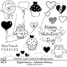 Valentine Whimsical Digital Stamps with cupcakes, earts, balloons, cute owls, black and white cartoon hearts, lion, cupcakes, Best Friends Forever, and Happy Valentine's Day. Free Printables, Free Graphics, Free Kits, Gina Jane Designs - DAISIE Company