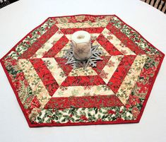 Christmas Quilted Table Runner, Hexagon Table Topper, Red and Ivory Poinsettia, Gold Highlights, Table Topper, MADE TO ORDER