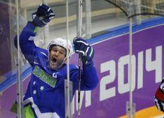 DAY 9:  Tomaz Razingar of Slovenia during the Ice Hockey Men's Preliminary Round Group A - Slovakia vs. Slovenia http://sports.yahoo.com/olympics