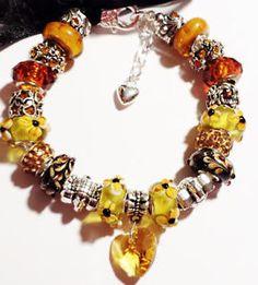 Brown-Amber-Chunky-European-Bead-Charm-Bracelet-Fit-6-1-4-7-1-4-Wrist-USA