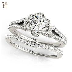 14K White Gold Unique Wedding Diamond Bridal Set Style MT51069 - Wedding and engagement rings (*Amazon Partner-Link)
