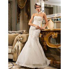 Lanting+Trumpet/Mermaid+Plus+Sizes+Wedding+Dress+-+Ivory+Floor-length+Strapless+Chiffon/Organza+–+USD+$+139.99