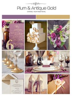 Plum and antique gold wedding inspiration board, color palette, mood board