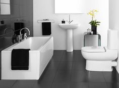 Interior, : Creative Small White Bathroom Decoration Using White Ceramic Pedestal Bathroom Sink Including Modern Rectangular Freestanding Bathtub And Dark Grey Ceramic Bathroom Flooring
