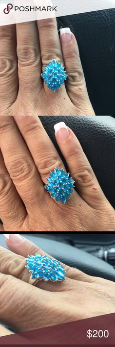Sterling Silver Genuine Neon Apatite Ring 💥Sterling Silver Rhodium plated  Neon Apatite Ring. 4 carats of beautiful Genuine Madagascar Neon Apatite. Color is electrifying💥 BRAND NEW! THIS WEEKEND ONLY $75 OFF!! Don't MISS OUT Jewelry Rings