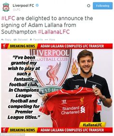 Liverpool Football Club are delighted to announce the signing of Adam Lallana from Southampton. Liverpool Players, Liverpool Football Club, Best Football Team, Football Fans, Premier League Soccer, Match Of The Day, Brendan Rodgers, England National, Brunettes