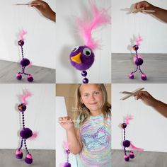 Make a super simple marionette!   Fun for kids to use and the perfect size!     I think this silly bird looks similar to Kevin from U...