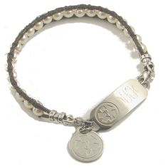 Custom medical ID alert bracelets - Stay secure in style while wearing custom engraved medical alert ID bracelets and jewelry from Designs by Diana designed for both children and adults. Med Id, Medical Id Bracelets, Leather Weaving, Swarovski Pearls, Custom Engraving, Heart Charm, Pretty Little, Charmed, Stylish