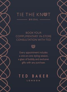 TED BAKER BRIDAL boutiques are designed to ease your journey to the altar. Book now at tedbaker.com Tie The Knots, Bridal Boutique, Appointments, Ted Baker, Personal Style, Journey, Boutiques, Altar, Bride