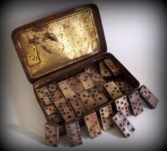Antique Set of Bone and Ebony Dominoes by merrilyverilyvintage