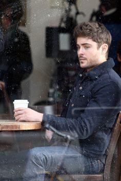 Brown hair, light eyes, scruff... in a coffee shop. Dream come true.